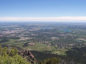 iew of Boulder from Bear Peak. University of Colorado far left.